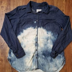 Sonoma Dip Bleach Dye Button Down Long Sleeve